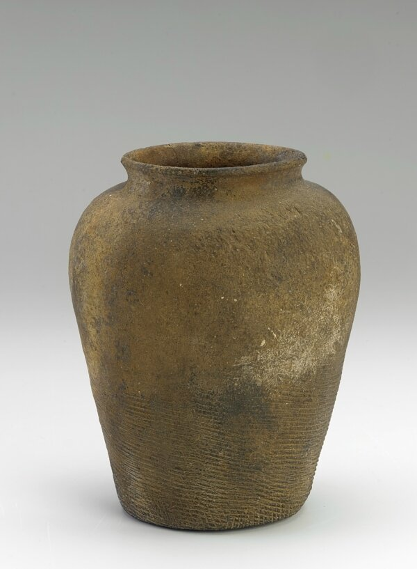 Jar with paddle-impressed texture, Northern Vietnam, Hong Bang, Thuc, Triêu dynasty, or Chinese rule, 4th-2nd century BCE