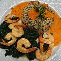 Assiette du soir : bonsoir (crevettes, épinards, quinoa, coulis de poivrons)