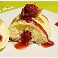 Dôme chocolat blanc, mousse mascarpone & coeur coulant framboise