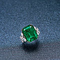 An exceptional 19.65 carat colombian emerald and diamond ring