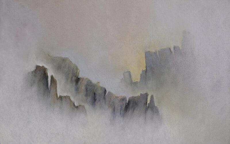 Brume dans les rochers à Pern (3), Ouessant, pastel à l'huile, 48 x 3é cm, septembre 2020