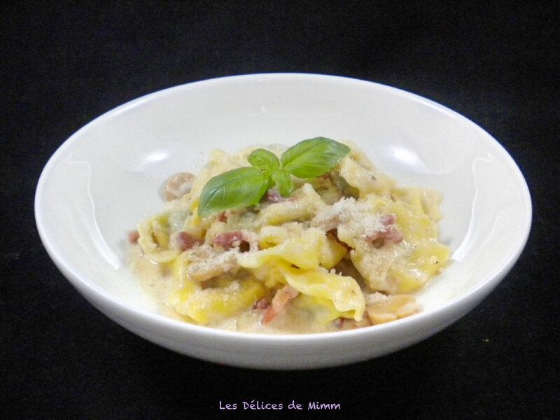 Tortellini aux lardons et champignons 4