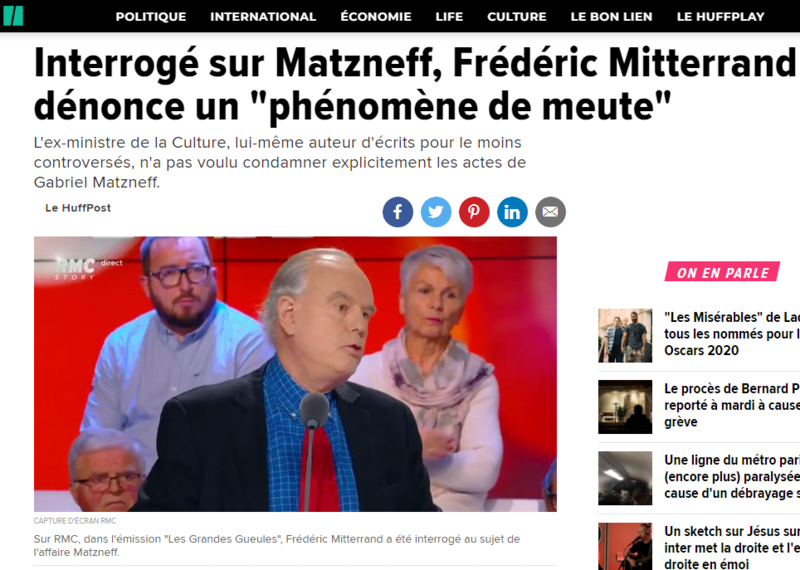 2020-01-13 19_45_33-Interrogé sur Matzneff, Frédéric Mitterrand dénonce un _phénomène de meute_ _ Le