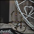Boucles d'oreilles bronze et perles style vintage au choix