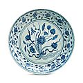 A large blue and white 'Lotus bouquet' dish, Yongle period (1403-1425)