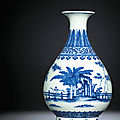 A fine ming-style blue and white pear-shaped vase, yuhuchunping, daoguang six-character seal mark and of the period (1821-1850)