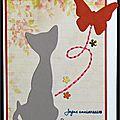carte d'anniversaire avec chat et papillon, touche de broderie