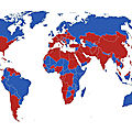 Countries where the capital is located in the North (Red) or South (Blue)