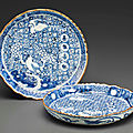 Two rare blue and white shonzhui-style serving dishes, Chongzhen period (1628-1644)