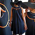 MOD 379B Robe Trapèze Créateur Noir Orange Graphique Couture