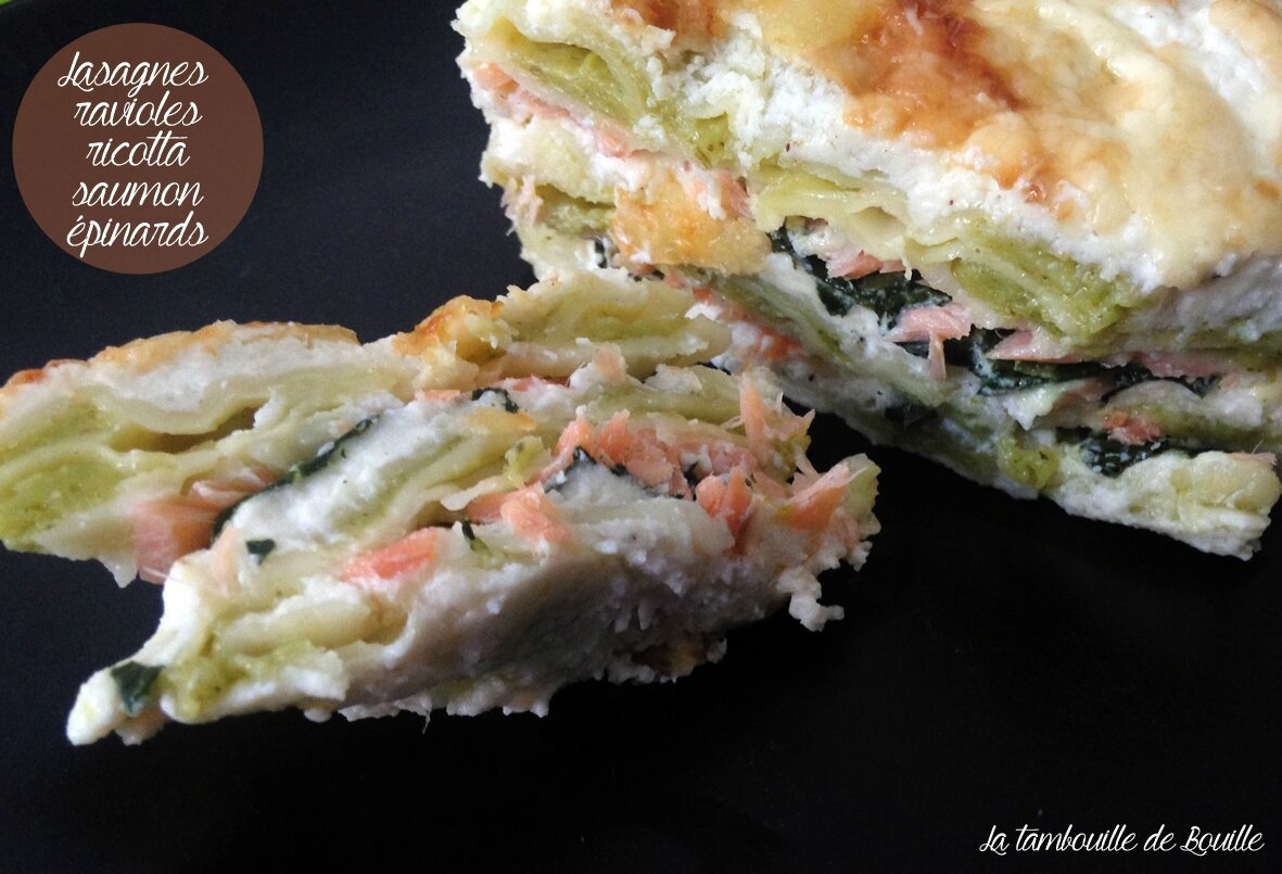Lasagnes de ravioles du dauphiné ricotta, saumon fumé et épinards
