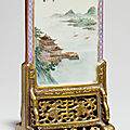 A famille rose table screen, republic period (1912-1949), signed he xuren