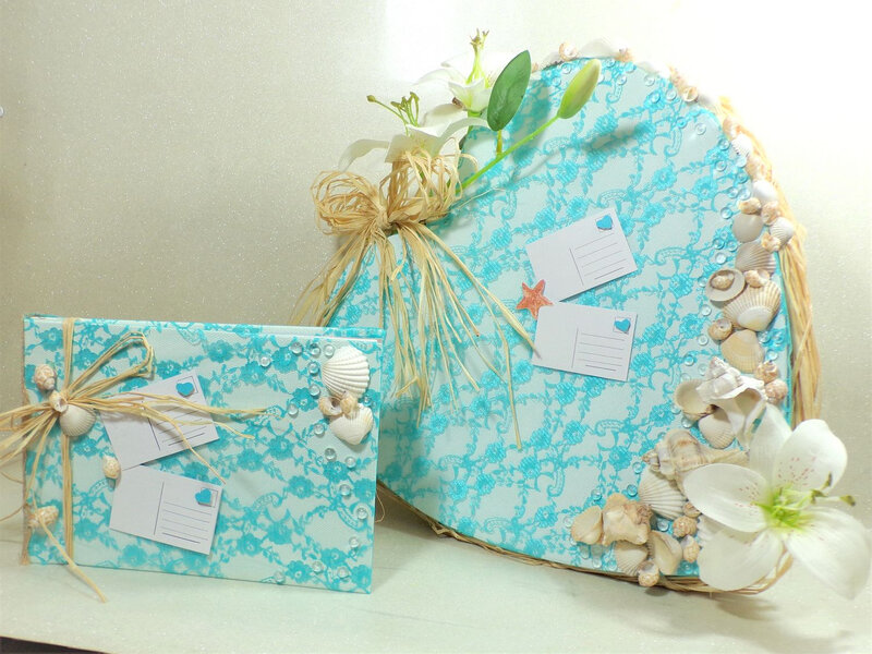 Urne et livre d'or mariage coquillage dentelle turquoise blanc