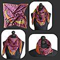 2 foulards carrés peints sur la soie naturelle