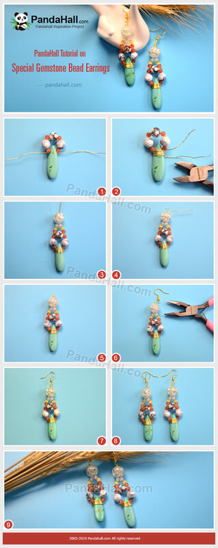 1-PandaHall-Tutorial-on-Special-Gemstone-Bead-Earrings
