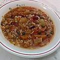 Minestrone de légumes variés au riz à la florentine