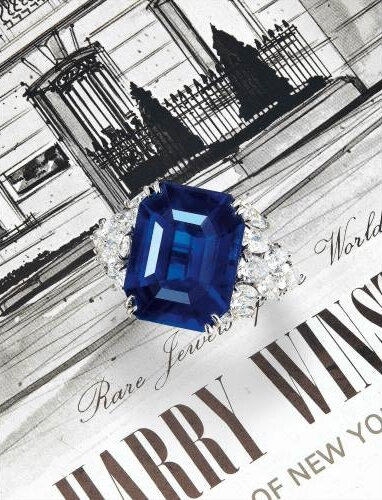A Very Fine 13-carat Step-cut Unheated Royal Blue Sapphire and Diamond Ring, Harry Winston