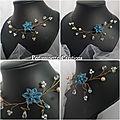 Collier mariage fleur indigo, bleu jean, perles cristal et ivoire