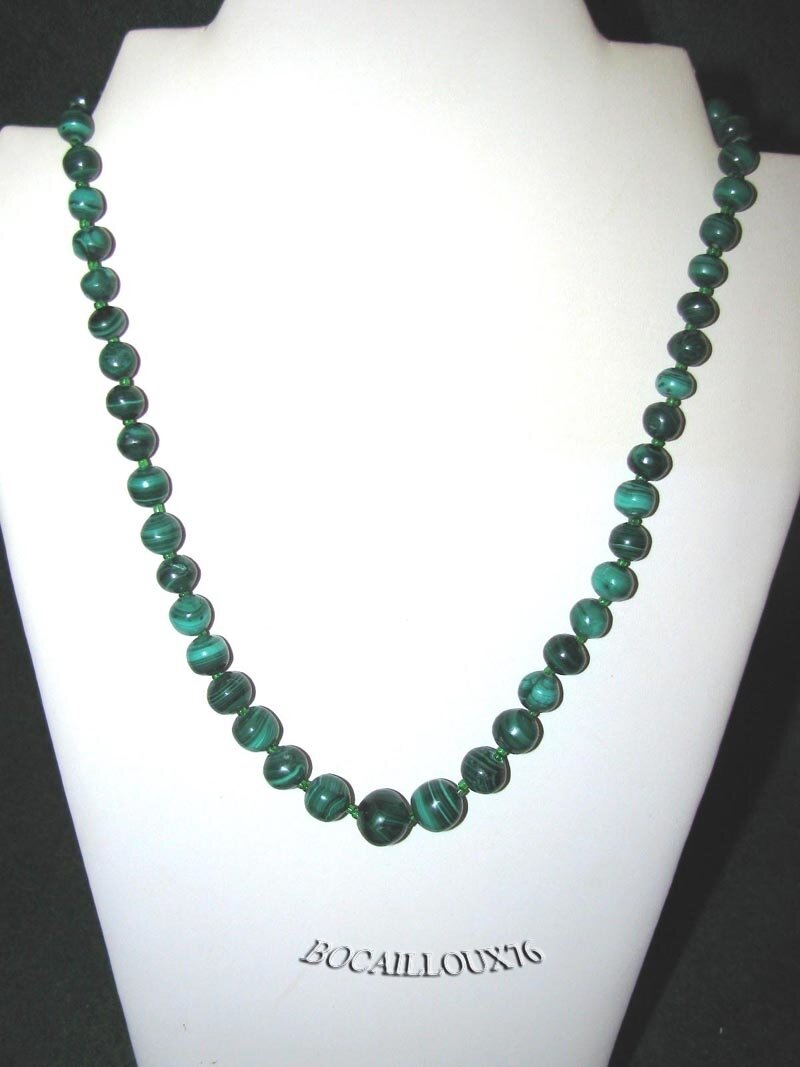 COLLIER MALACHITE 15 - Perles D.6-13mm - FERMOIR MAGNETIQUE INOX