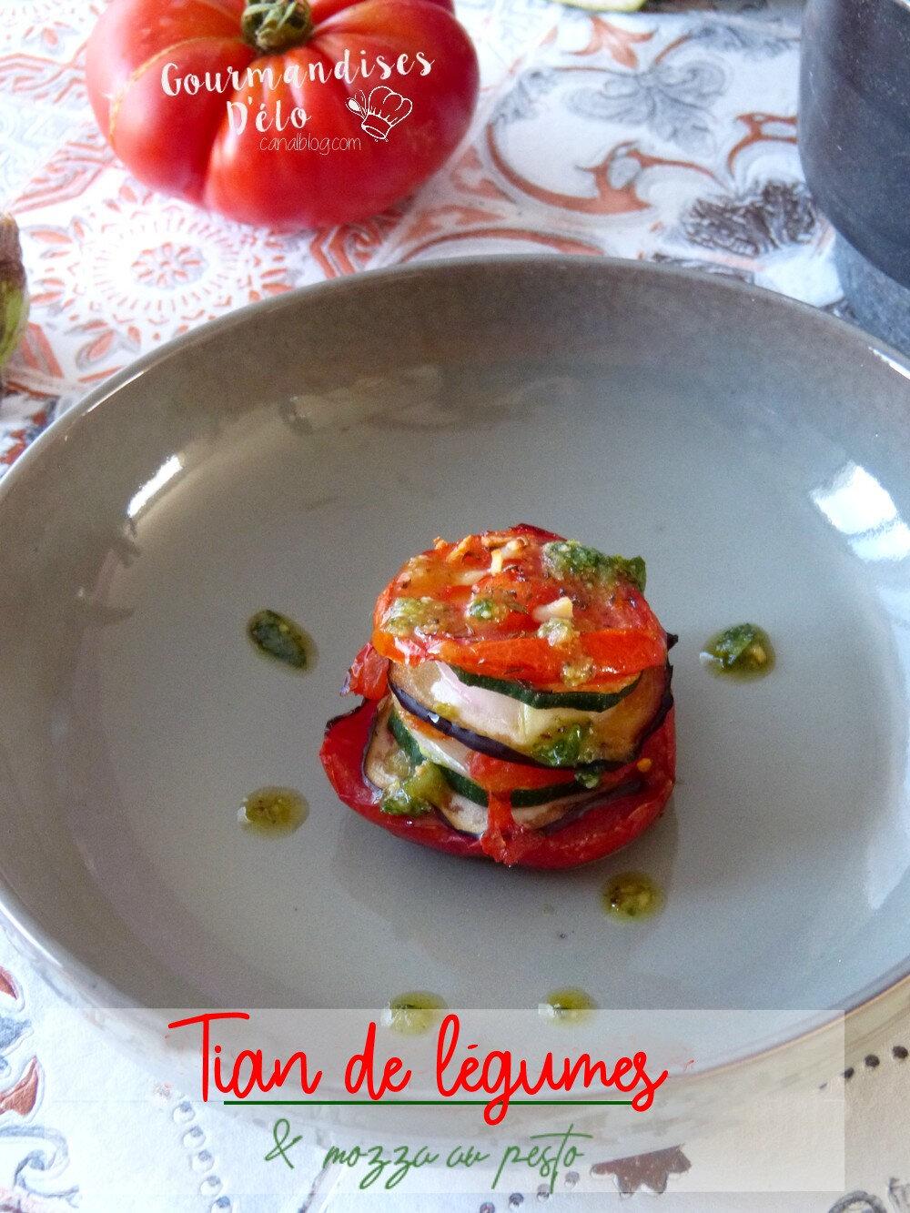 Tian de légumes et mozza au pesto