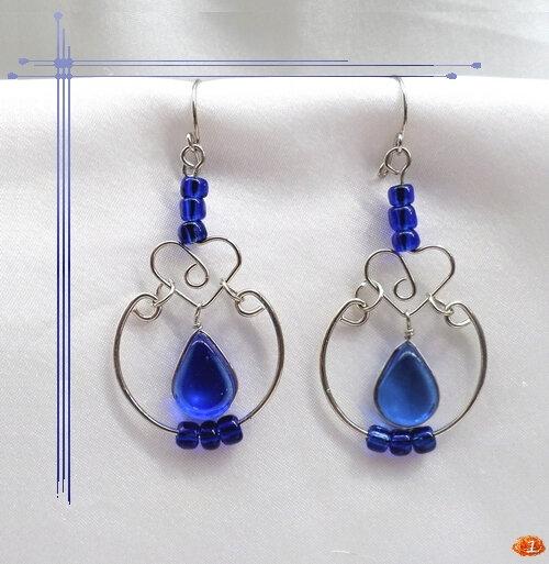 Boucles D'Oreilles Véra Verre Murano Bleu Sapphire Argent d'alpaca Artisanat du Pérou