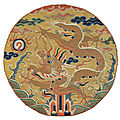 An imperial ming dynasty embroidered five-clawed 'dragon' roundel, late ming dynasty, 16th-17th century