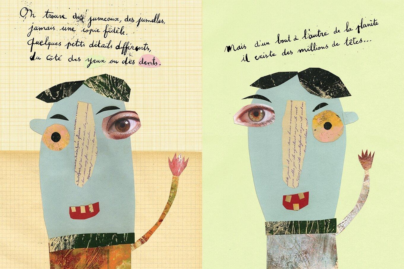 """Double page de """"drôles de têtes"""" qui sortira cet automne chez Frimousse éditions"""