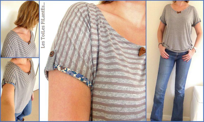 Tee-shirt Loose petit noeud en cuir8