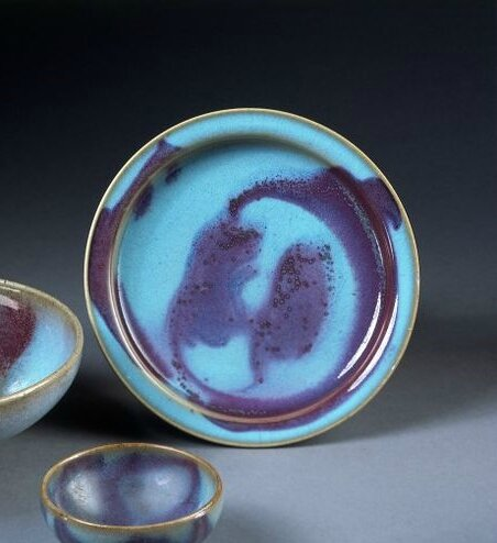 Blue glaze and coper-red splashes dish, Jun ware, China, Northern Song-Jin dynasty, 12th-13th century