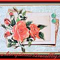 Carte 3d roses rouge sur fond vert