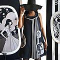 MOD 384C Robe Trapèze Graphique Noir blanc esprit année 70 créateur Couture