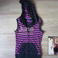Abbey Dawn Striped Hooded Vest