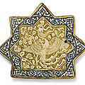 A kashan lustre pottery star tile with simurgh, persia, 14th century