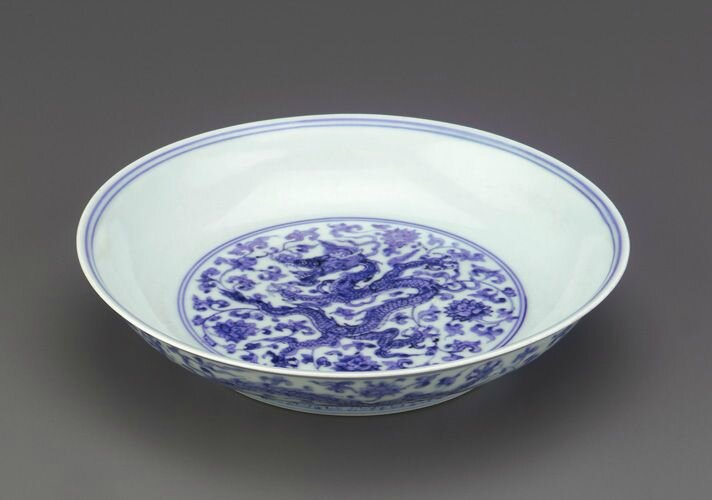 Dish with Phagsa inscription, 1506-1521, Ming dynasty, Zhengde reign. Porcelain with cobalt decoration under colorless glaze, H: 4.7 W: 21.6 D: 21.6 cm, Jingdezhen, China. Purchase F1962.17. Freer/Sackler © 2014 Smithsonian Institution
