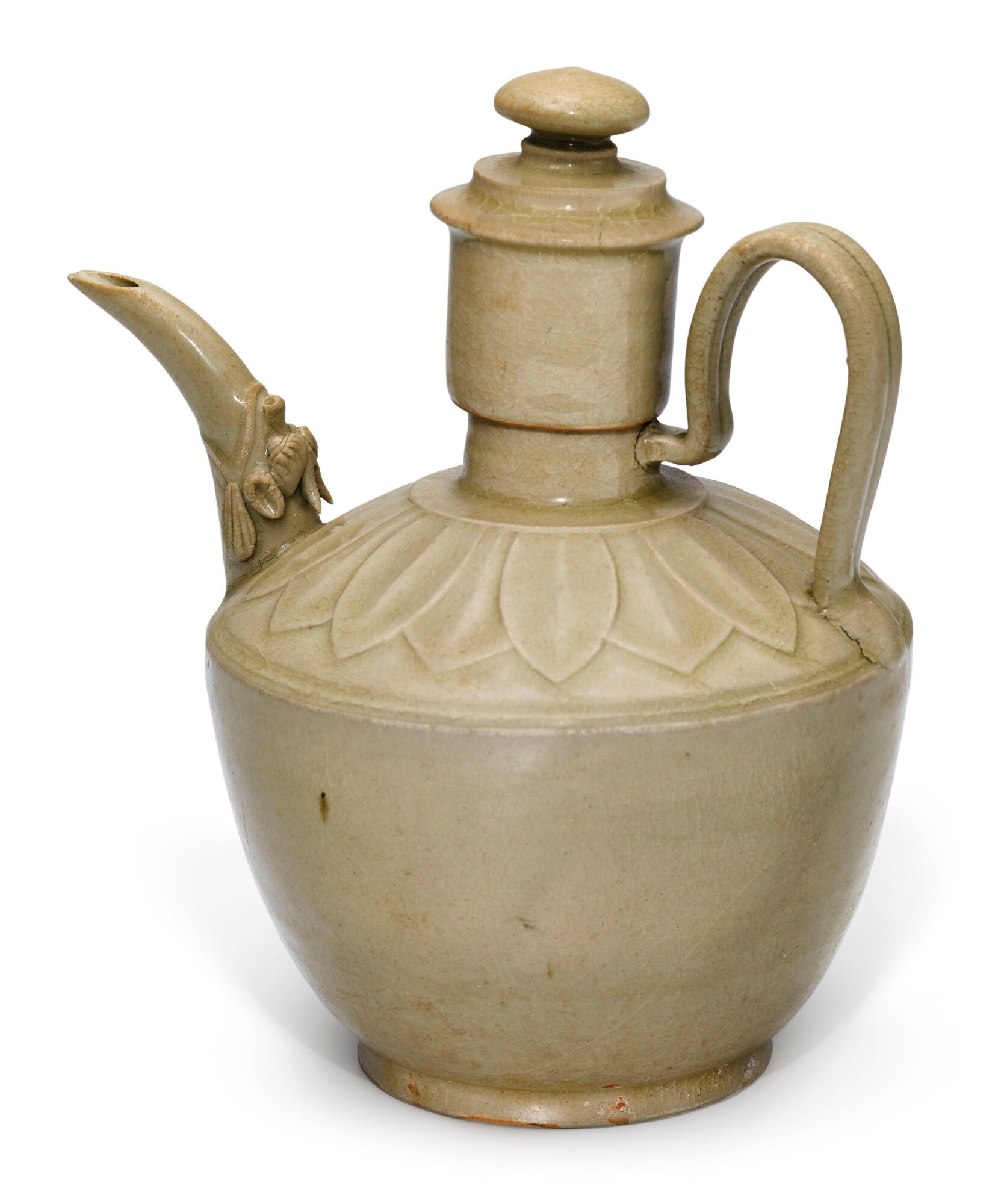 A Yue celadon ewer and cover, Five dynasties (907-960)