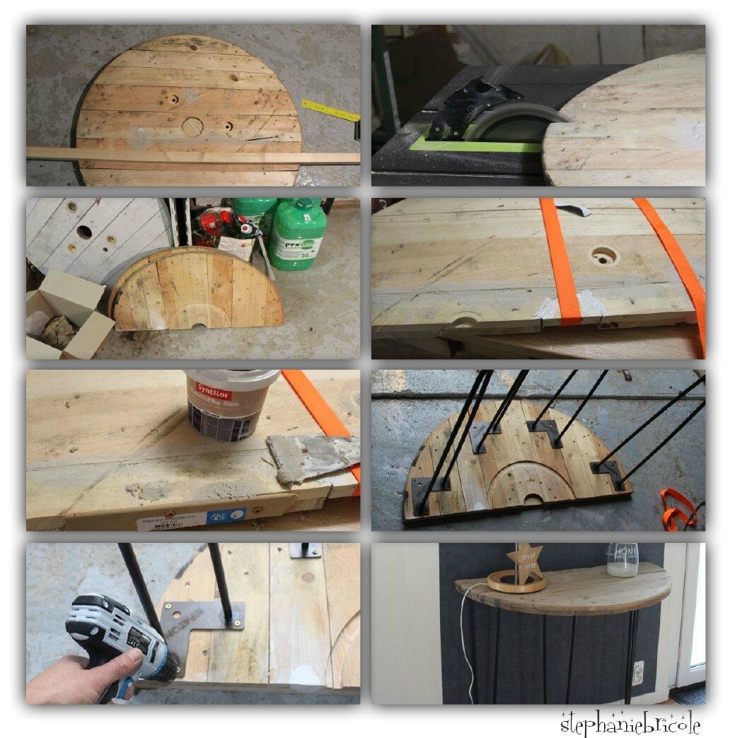 Décorer Un Touret En Bois une console demi-lune avec un touret en bois et des pieds en