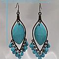 Boucles d'oreilles style bohemienne lova perles couleur turquoise métal couleur bronze