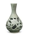 A rare Zhejiang celadon reticulated vase, China, Ming Dynasty, 14th-15th century