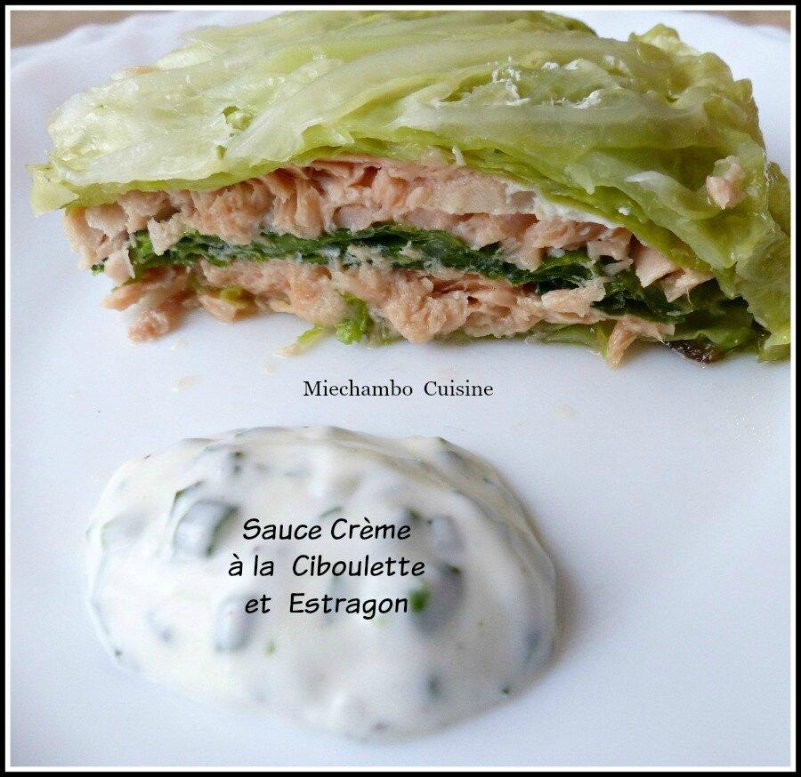 Chou vert farci au saumon, Sauce Crème aux Herbes