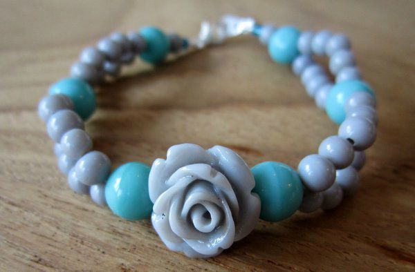 Bracelet rose turquoise et gris