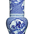 A blue and white 'eight immortals' yen yen vase, qing dynasty, 18th-19th century