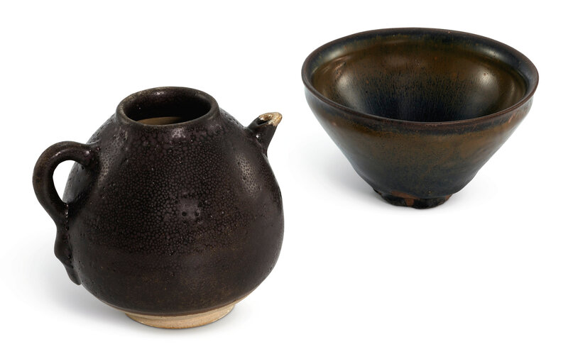A Jian 'Hare's fur' bowl and a black-glazed 'Oil spot' ewer, Song Dynasty (960-1279)