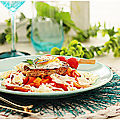 Râpés de pomme de terre à la fondue de poivrons, aux douces épices et oeuf sur le plat....