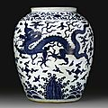 An impressive blue and white 'Dragon' jar, Wanli mark and period