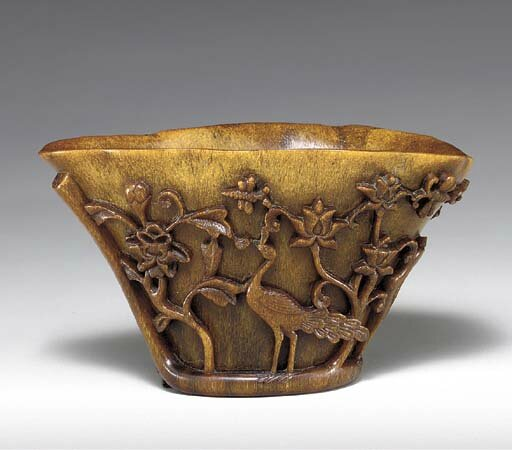 A rhinoceros horn, libation cup, 17th-18th century