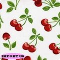 Tissu Cherries White Stretch pour robe pin up, jupe circle, robe crayon, jupe crayon, bustier...