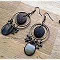 Boucles d'oreilles anneaux, bois et nacre