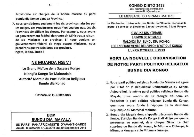 VOICI LA NOUVELLE ORGANISATION DE NOTRE PARTI POLITICO RELIGIEUX BUNDU DIA KONGO a
