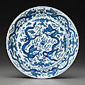 A large blue and white 'dragon' dish, wanli six-character mark in underglaze blue within a double-circle and of the period (1573