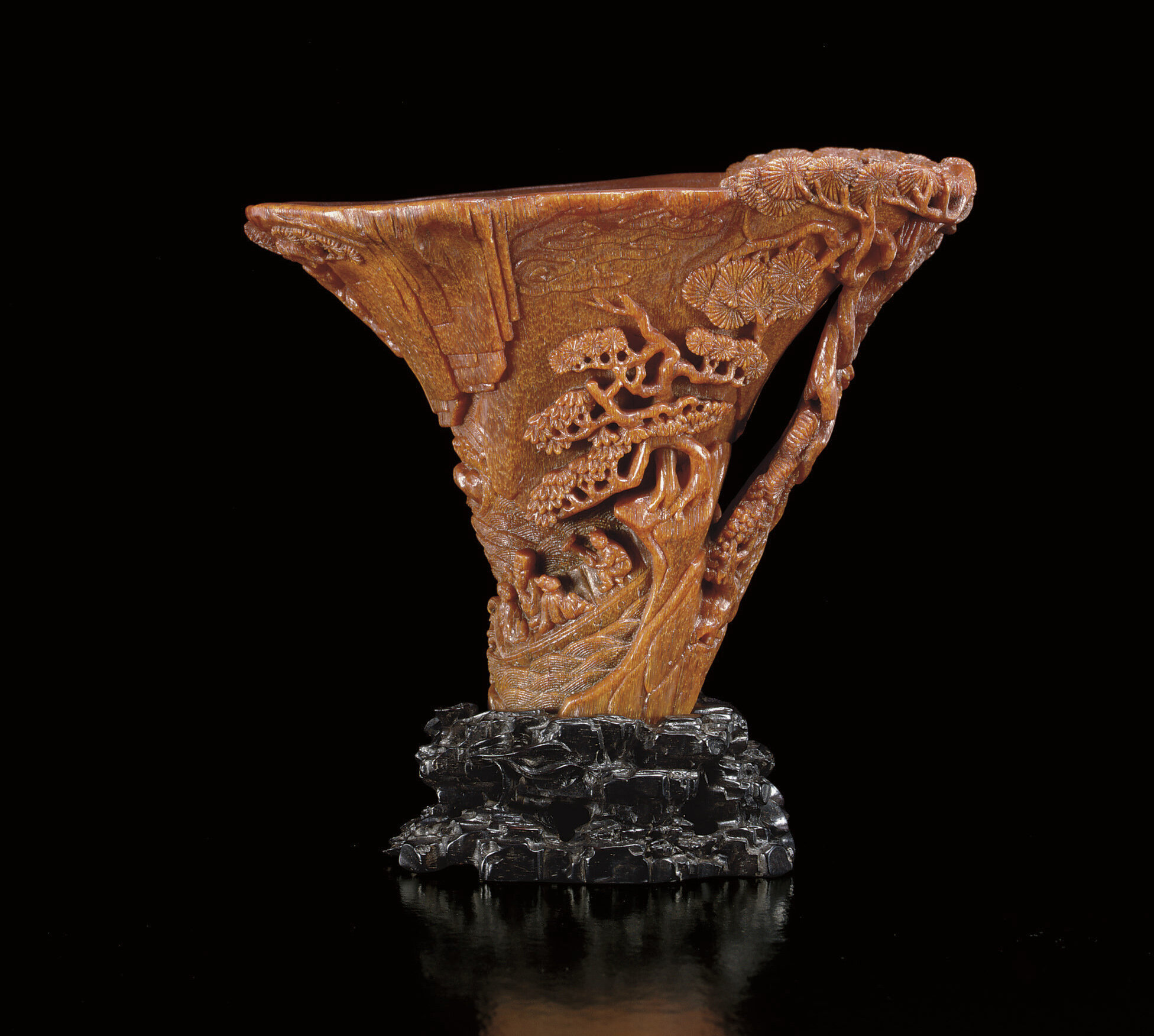 A finely carved rhinoceros horn 'Ode to the Red Cliff' libation cup, Ming dynasty, 17th century